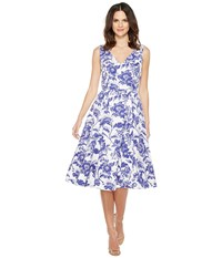 Adrianna Papell Printed Cotton Faille Fit And Flare Midi Dress Ivory Cobalt Women's Dress Blue
