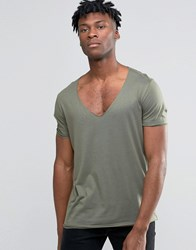 Asos Longline T Shirt With Scoop Hem And Raw V Neck In Drape Fabric Burnt Olive Green