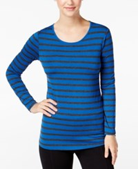 G.H. Bass And Co. Striped Long Sleeve Top Cobalt Blue