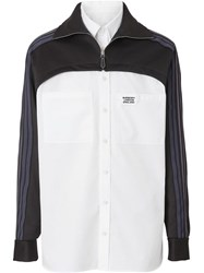 Burberry Track Top Panel Cotton Poplin Shirt White
