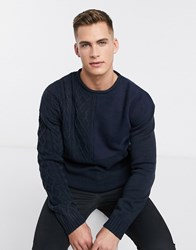 Bellfield Mixed Knitted Jumper In Navy