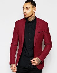 Asos Superskinny Blazer In Check In Red Red