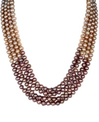 Effy Collection Effy Multicolor Dyed Cultured Freshwater Pearl Multi Strand Necklace In Sterling Silver