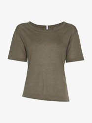 Lot 78 Lot78 Short Sleeve Asymmetric Cashmere Blend Top Green