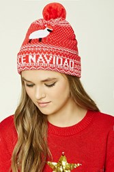 Forever 21 Fleece Navidad Sheep Beanie Red White