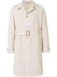 Aspesi Button Down Trench Coat Cotton Polyester Polyamide L Nude Neutrals
