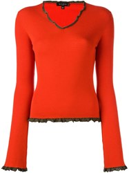 Etro Ruffle Trim Jumper Red