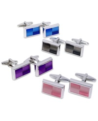 Kenneth Cole Reaction Cufflinks Colored Ombre Enamel Cufflinks Boxed Set Blue