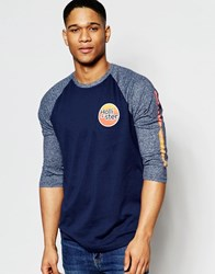 Hollister Long Sleeve Baseball Tee With Print Navy