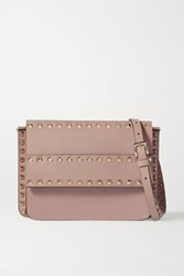 Valentino Garavani Rockstud Leather Shoulder Bag Tan