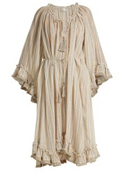 Zimmermann Meridian Striped Linen And Cotton Blend Dress Multi