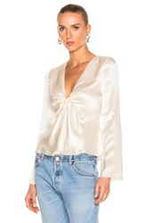 Alexander Wang T By Silk Charmeuse Tie Knot Long Sleeve Top In Neutrals