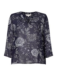 Part Two V Neck Blouse With Flower Print Blue