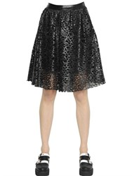 Karl Lagerfeld Laser Cut Faux Leather Skirt