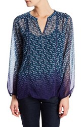 Casual Studio Split Neck Printed Blouse Blue
