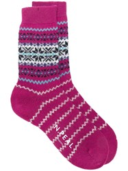 N.Peal Snowflake Fairisle Socks Pink And Purple