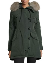 Moncler Aredhel Hooded Down Fur Trim Jacket Olive