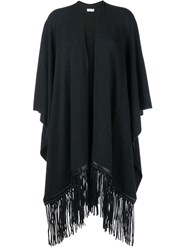 Vince Fringed Leather And Wool Cashmere Blend Poncho Grey