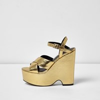 River Island Womens Gold Cross Strappy Platform Wedges