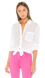 7 For All Mankind High Low Tie Shirt In White. Soft White