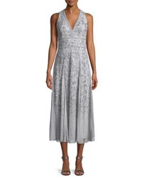 J. Mendel V Neck Sleeveless Beaded Tea Length Cocktail Dress Silver