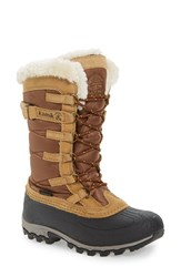 Kamik Women's Snowvalley Waterproof Boot With Faux Fur Cuff Tan
