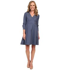 Nydj Cotton Poplin Shirt Dress Indigo Haze Women's Dress Blue