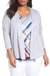 Nic Zoe Plus Size Women's Four Way Convertible Cardigan Sky