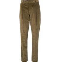 Caruso Green Slim Fit Tapered Cotton Blend Corduroy Suit Trousers Green
