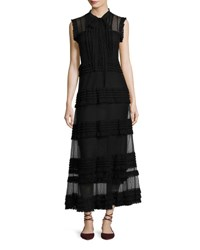 Red Valentino Sleeveless Point D'esprit And Lace Ribbon Maxi Dress Black