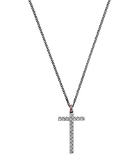 Gucci Pattern Engraved Aged Sterling Silver Cross Necklace