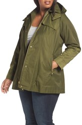 Kristen Blake Plus Size Packable Fit And Flare Raincoat Olive