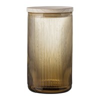 Bloomingville Ridged Glass Jar With Lid Brown