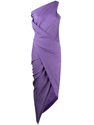 Vivienne Westwood Anglomania One Shoulder Ruched Dress Purple
