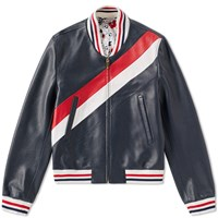 Thom Browne Diagonal Stripe Deerskin Varsity Jacket Blue