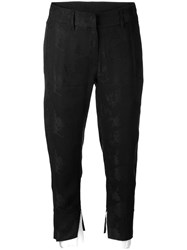 Ann Demeulemeester Cropped Trousers With Contrast Layer Black