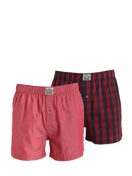 Levi's Underwear 2 Pack Plaid And Chambray Cotton Boxers Multi Red