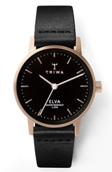 Triwa Elva Leather Strap Watch 28Mm Black Rose Gold