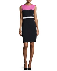 St. John Sleeveless Colorblock Knit Dress Peony Black Bright White