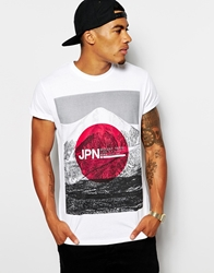 Asos T Shirt With Japan Flag Print And Rolled Sleeve Skater Fit White