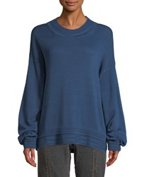 Elizabeth And James Hensley Rib Trim Cotton Pullover Sweater Blue