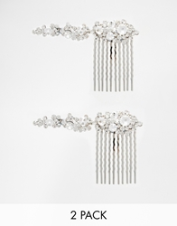 Love Rocks Two Pack Rhinestone Slide Hair Clips Crystal