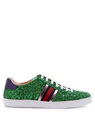 Gucci New Ace Glitter Covered Trainers Green