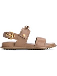 Car Shoe Open Toe Bow Sandals Women Calf Leather Leather Rubber 40 Brown