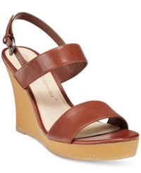 Callisto Athena Alexander By Beryl Platform Wedge Sandals Women's Shoes Cognac
