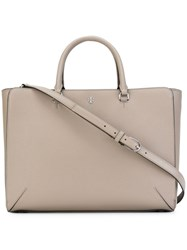 Tory Burch Large 'Robinson' Tote Grey