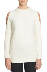 1.State Cold Shoulder Sweater White