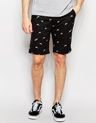 Bellfield Chino Shorts With All Over Dolphin Print Black