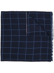 Isaia Check Frayed Scarf Blue