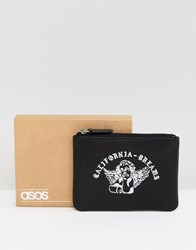 Asos Leather Zip Wallet With Printed Cherub Design Black